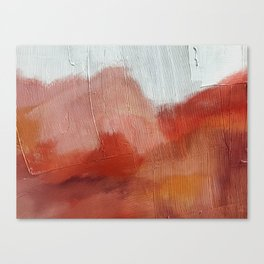 Desert Journey [2]: a textured, abstract piece in pinks, reds, and white by Alyssa Hamilton Art Canvas Print