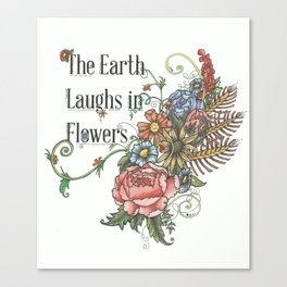 Laughing in Flowers Canvas Print