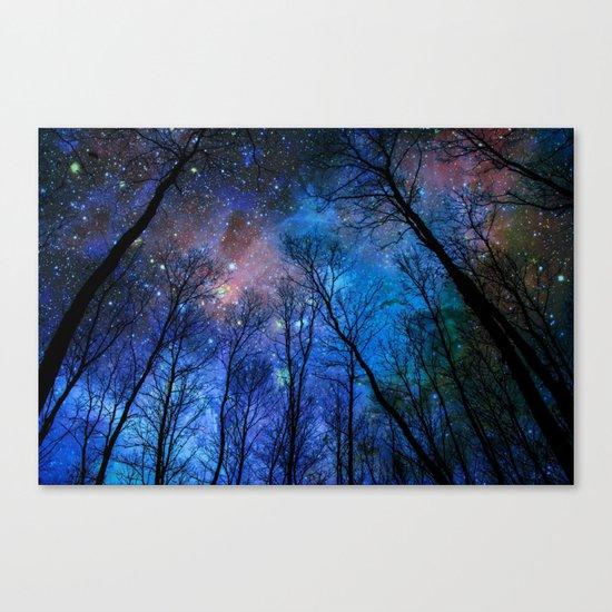 Black Trees Dark Blue Space Canvas Print