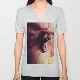 Cat roaring lion Unisex V-Neck