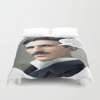 tesla Duvet Covers featuring Nikola Tesla by Pink Pony