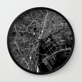 Tokyo Black Map Wall Clock