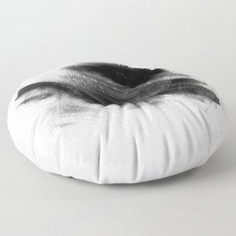 Black & White Minimal simple art, Brush Strokes Abstract painting 3 Floor Pillow