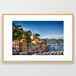 Colorful Harbor Houses in Portofino, Liguria, Italy Framed Art Print