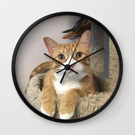 Orange cat oil finish Wall Clock
