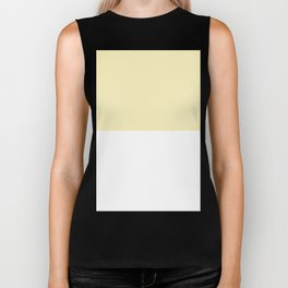 White and Blond Yellow Horizontal Halves Biker Tank