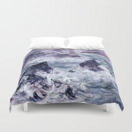 Claude Monet Storm At Belle Ile Duvet Cover