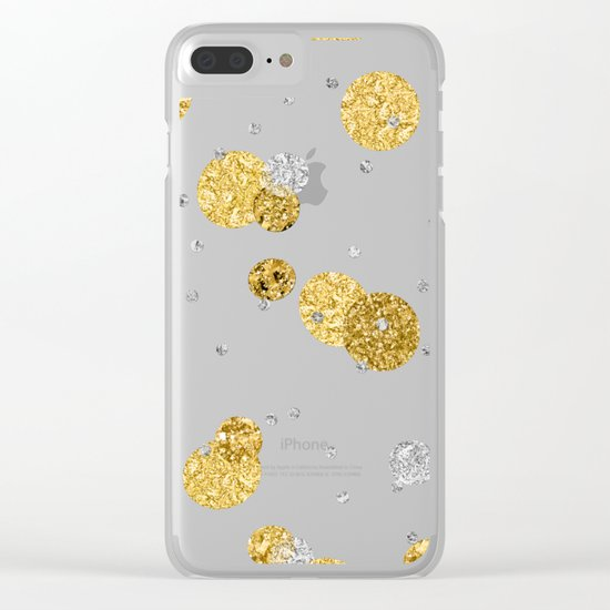 Treasures on aqua - Gold glitter polkadots on turquoise background Clear iPhone Case
