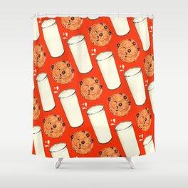Milk & Cookies Pattern - Red Shower Curtain