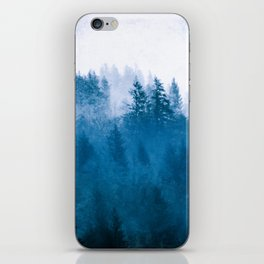 Blue Winter Day Foggy Trees iPhone Skin