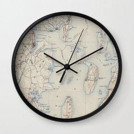 Vintage Map of The Narragansett Bay (1888) Wall Clock
