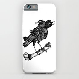 Two headed crow & Bone illustration iPhone Case