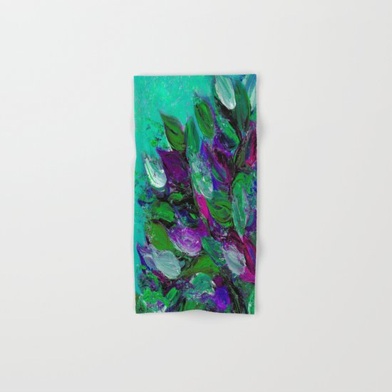 BLOOMING BEAUTIFUL 1 - Floral Painting Mint Green Seafoam Purple White Leaves Petals Summer Flowers Hand & Bath Towel