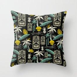 Island Tiki - Black Throw Pillow