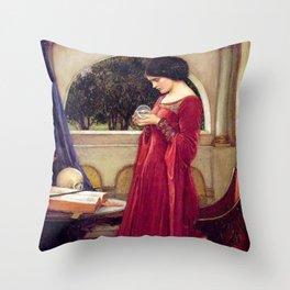 John William Waterhouse The Crystal Ball Throw Pillow
