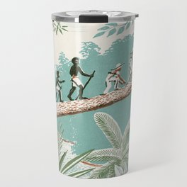 People Walking on a Log in the Jungle vintage movies poster hand drawn illustration Travel Mug