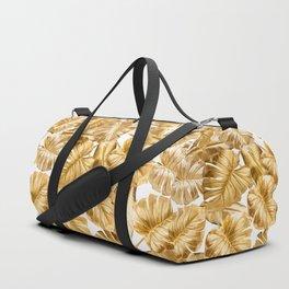 Gold Leaves Aloha Tropical Foliage Pattern Duffle Bag