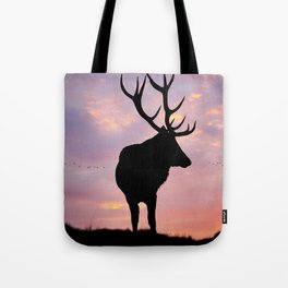 Stag And Sunset Tote Bag