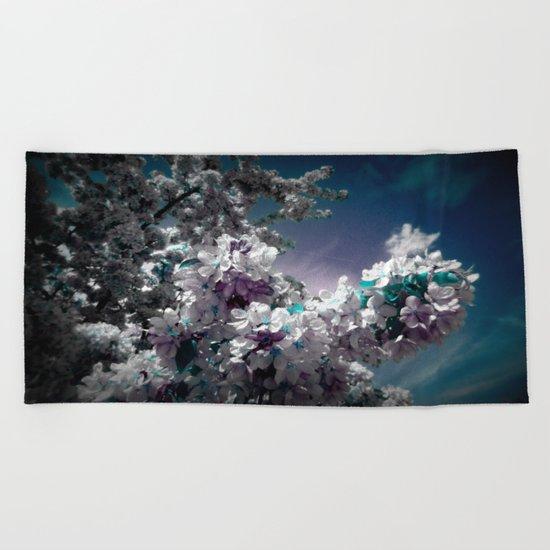 Flowers Purple & Teal Beach Towel