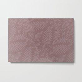 Pantone Red Pear Fancy Leaves Scroll Damask Pattern Metal Print