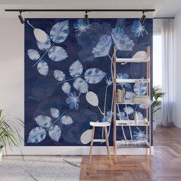 Flora Cyanotype Wall Mural