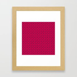 Small Black Crosses on Hot Neon Pink Framed Art Print