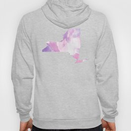 Watercolor State Map - New York NY purples Hoody