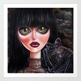 Batgirl Victorian Goth Girl with Grey Bat Big Green Eyes Art Print