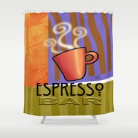 bar Shower Curtains featuring EXPRESSO BAR by Cheryl Daniels