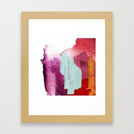 Desert Daydreams [3]: a colorful abstract mixed media piece in purple blue pinks and orange Framed Art Print