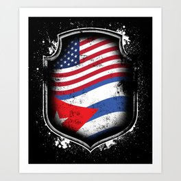 Cuban American Flag Art Print