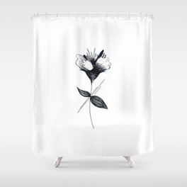 Minimalist Abstract Flower SAGFT 2, black and white Shower Curtain