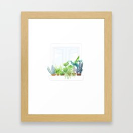 window with plant Framed Art Print