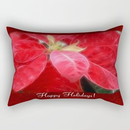 Mottled Red Poinsettia 2 Happy Holidays P5F1 Rectangular Pillow