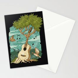 Music Nature Guitarist Tree Acoustic Guitar Stationery Cards