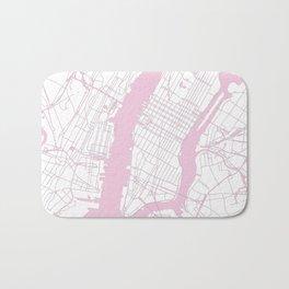 New York City White on Pink Bath Mat
