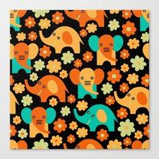 Stylized Elephant Children's Pattern Canvas Print