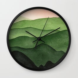 Watercolor layers of mountains Wall Clock