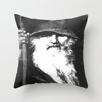 mythology Throw Pillows featuring  Scandinavian Mythology the Ancient God Odin by taiche