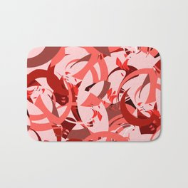 Abstract Curls - Burgundy, Coral, Pink Bath Mat