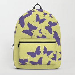 Ultra violet heart shape made from butterfly silhouettes. Backpack