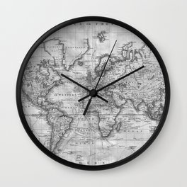 Black and White World Map (1801) Wall Clock