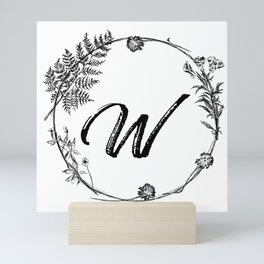 Monogram Letter W Floral Frame Mini Art Print