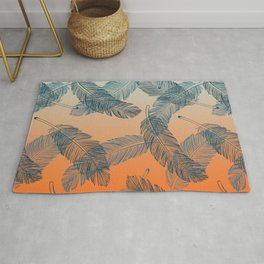 Blue Feathers Pattern Rug