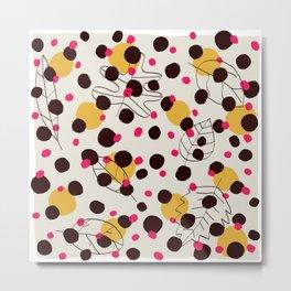 Dots + leaves Metal Print