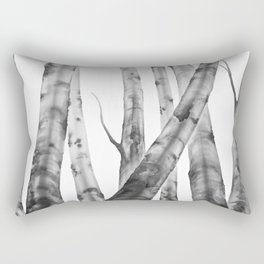 Birch Tree | Watercolour | Painting | black-and-white | Black and White | Minimalism Rectangular Pillow