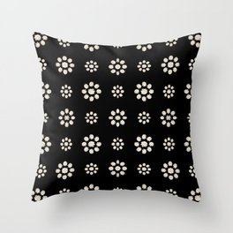Dark Stylized Floral Pattern Throw Pillow