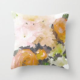 Watercolor Floral Print in Grey, Mustard, Pastel Pink, and Off White Throw Pillow