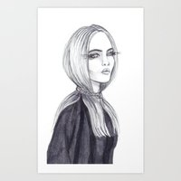 cara delevingne Art Prints featuring Cara Delevingne by Asquared2Art