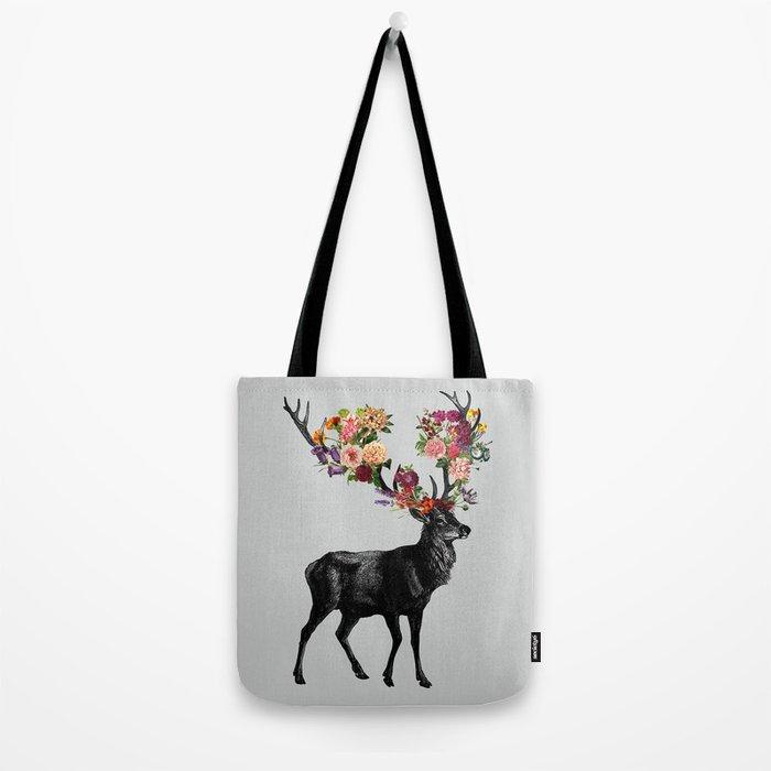 Spring Itself Deer Floral Tote Bag